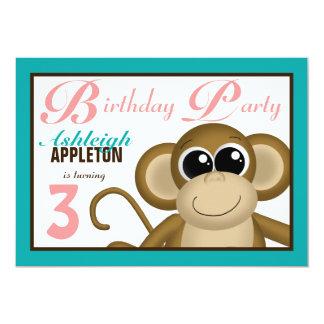 Trullo lindo del mono y invitaciones rosadas de la invitaciones personalizada