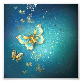 Trullo, metálico, de oro, mariposa, moda, fotografía
