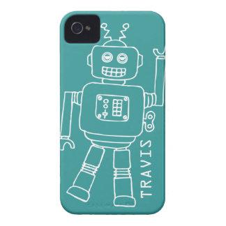 Trullo nombrado robot de la diversión y caja blanc iPhone 4 Case-Mate carcasas