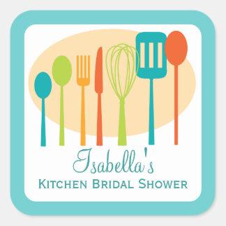 Trullo nupcial de la ducha el | de la cocina de pegatinas cuadradases personalizadas