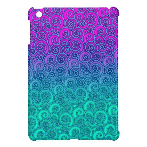 Trullo ondulado de moda de Swirly y extracto rosad iPad Mini Protectores