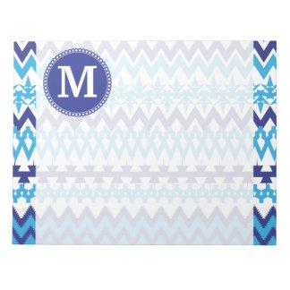 Trullo personalizado Chevron tribal azul del monog Blocs De Papel