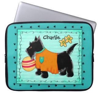 Trullo personalizado nombre negro del perro de funda portátil