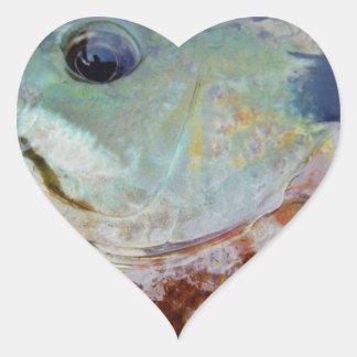 trullo púrpura amarillo azul, pescado del Lepomis Pegatina En Forma De Corazón