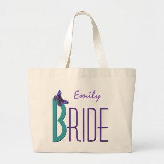 Trullo púrpura con la novia personalizada mariposa bolsa tela grande
