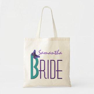 Trullo púrpura con la novia personalizada mariposa bolsa tela barata