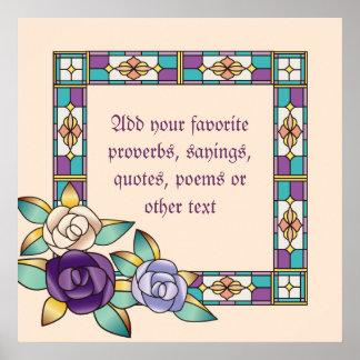 Trullo púrpura del melocotón de los rosas a mano póster