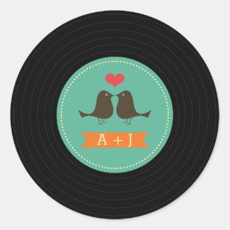 Trullo retro moderno del boda del disco de vinilo pegatina redonda