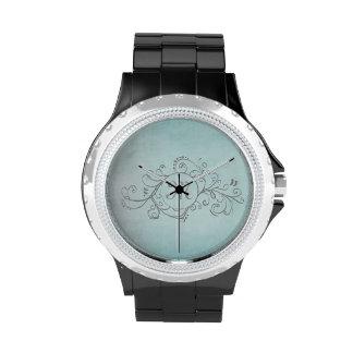 Trullo rústico y Flourish bohemio gris Reloj