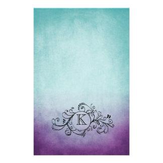 Trullo rústico y Flourish bohemio púrpura Papeleria