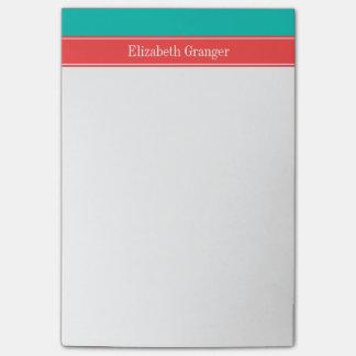Trullo sólido, monograma rojo coralino del nombre  nota post-it