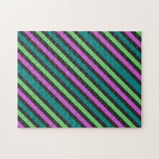 Trullo, verde lima, carpeta rayada del brillo de l puzzle con fotos