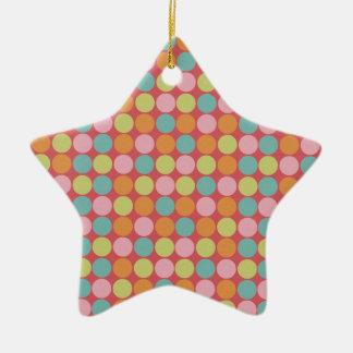 Trullo, verde lima, rojo, rosa, lunares adorno de cerámica en forma de estrella