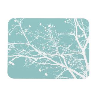 Trullo y árbol blanco del invierno imanes de vinilo