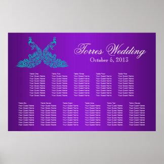Trullo y carta púrpura del asiento del pavo real póster