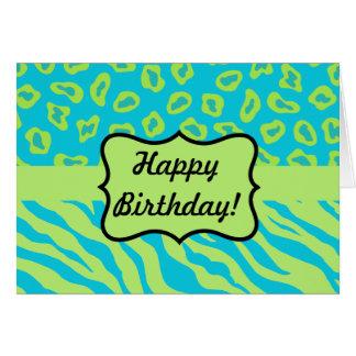 Trullo y cebra y guepardo de la verde lima tarjeta de felicitación