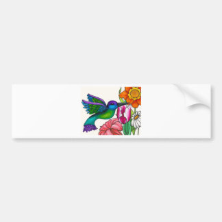 Trullo y colibrí púrpura con las flores pegatina de parachoque