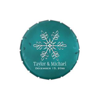 Trullo y copo de nieve blanco latas de caramelos