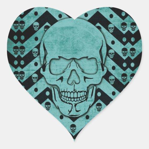Trullo y cráneo negro del galón del grunge pegatina en forma de corazón