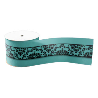 Trullo y diseño negro de la cinta del damasco lazo de tela gruesa
