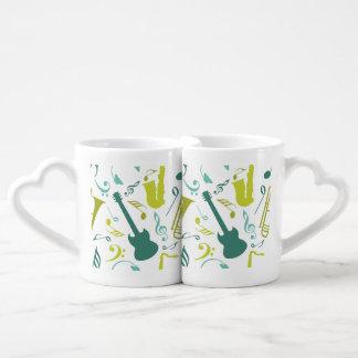 Trullo y diseño verde de la música de jazz set de tazas de café