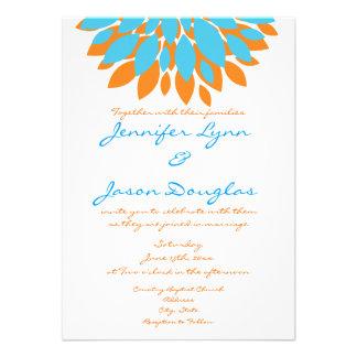 Trullo y flores simples anaranjadas que casan invi anuncio personalizado