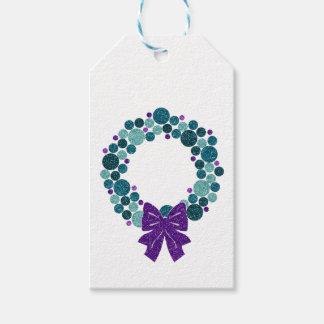Trullo y guirnalda reluciente púrpura de etiquetas para regalos