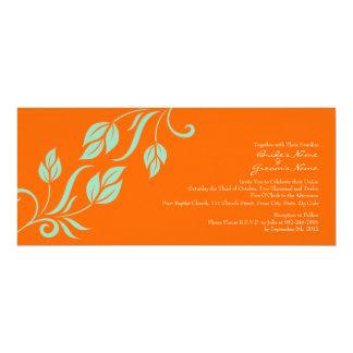 """Trullo y hojas florales anaranjadas que casan la invitación 4"""" x 9.25"""""""