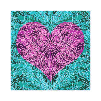 Trullo y línea corazón de Fuschia del arte Impresiones En Lona