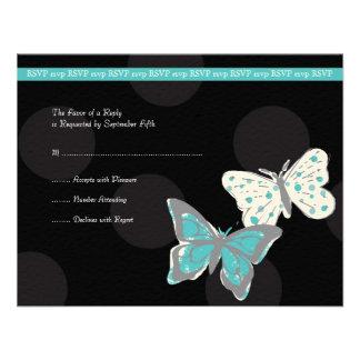 Trullo y mariposa fresca del negro que casa RSVP Invitación Personalizada