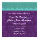Trullo y monograma púrpura del damasco que casan anuncios personalizados