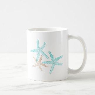Trullo y moreno de tres estrellas de mar taza