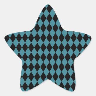 Trullo y negro del Harlequin Pegatina En Forma De Estrella