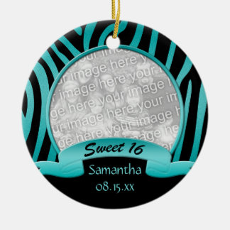 Trullo y ornamento negro del dulce 16 de la cebra adornos de navidad