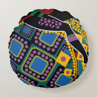 Trullo y ornamento púrpura cojín redondo