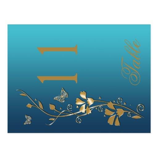 Trullo y oro florales con número de la tabla de ma postal