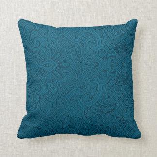 Trullo y Paisley azul marino Cojin