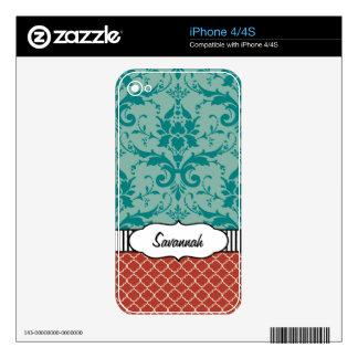 Trullo y piel personalizada damasco rojo del aire skins para iPhone 4S