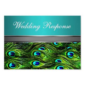 Trullo y pluma verde del pavo real que casan las invitación 8,9 x 12,7 cm