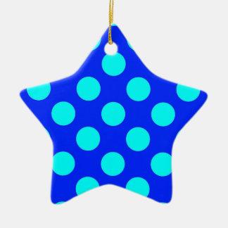 Trullo y Polkadots azul Adorno De Cerámica En Forma De Estrella