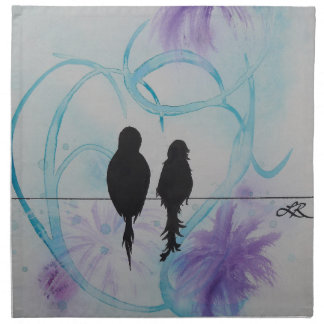 Trullo y púrpura del aniversario de los Lovebirds Servilletas Imprimidas