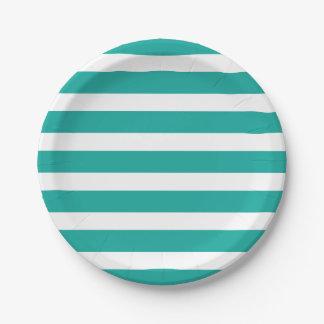 Trullo y rayas blancas plato de papel de 7 pulgadas