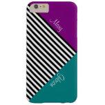 Trullo y rayas negras púrpuras del bloque del funda de iPhone 6 plus barely there