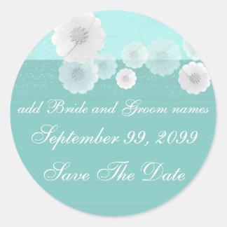 Trullo y reserva floral blanca los recordatorios pegatina redonda