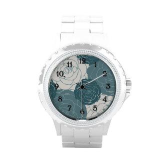 Trullo y rosas blancos relojes de pulsera