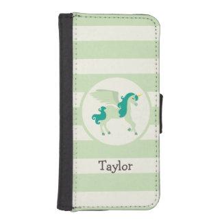 Trullo y unicornio verde claro funda billetera para teléfono