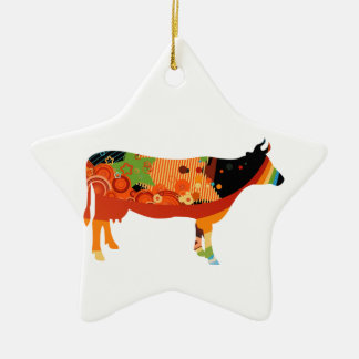 Truly Amoozing MEaty Colored Cows Ceramic Ornament