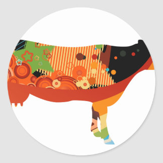Truly Amoozing MEaty Colored Cows Classic Round Sticker