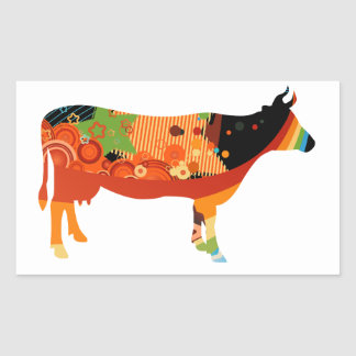 Truly Amoozing MEaty Colored Cows Rectangle Stickers