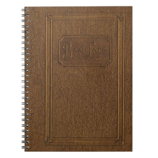 Truly vintage look: old, worn leather bound book spiral notebooks